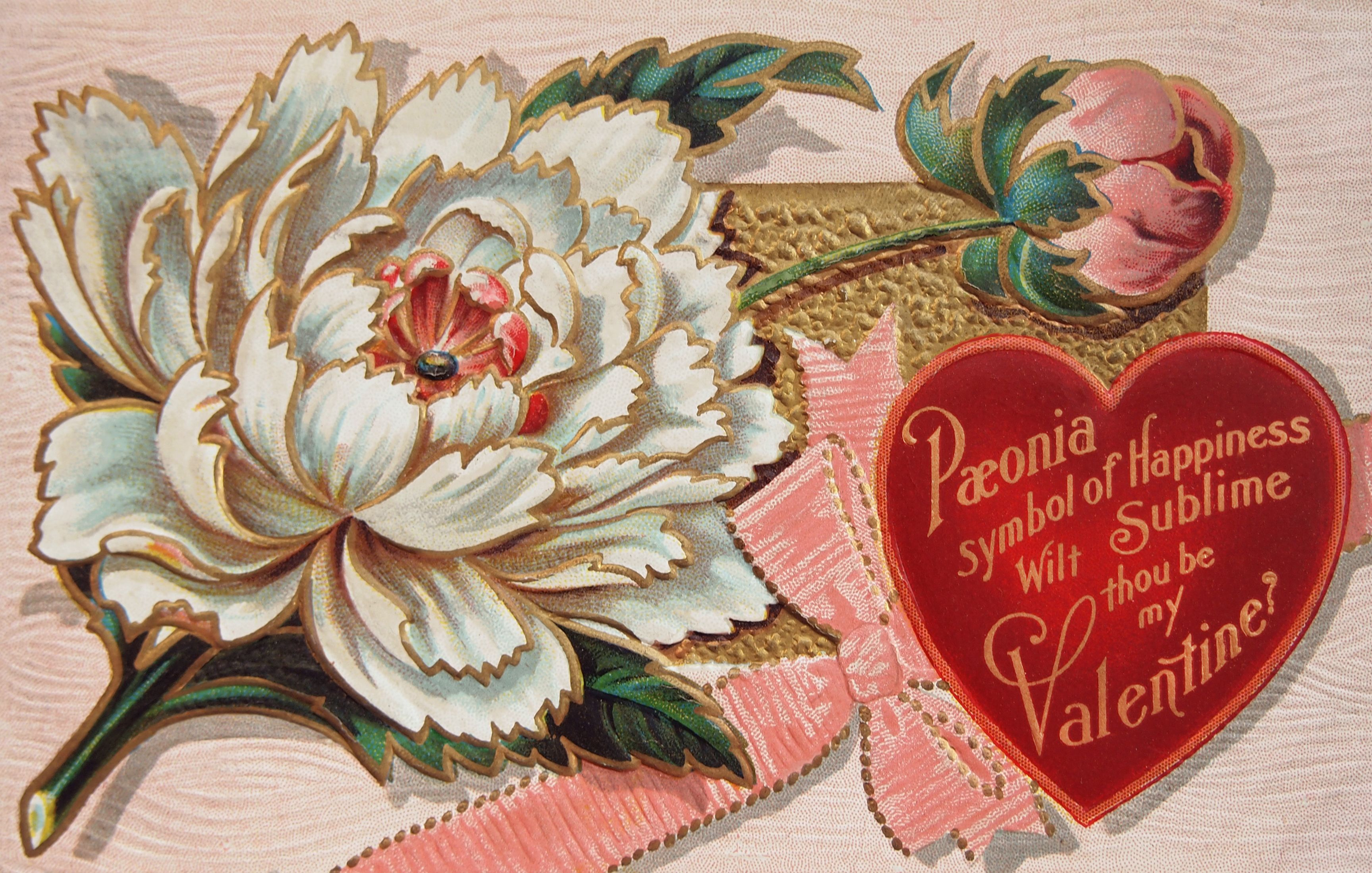 Valentine/'s Day Fabric Block Vintage Postcard on Fabric Victorian Message