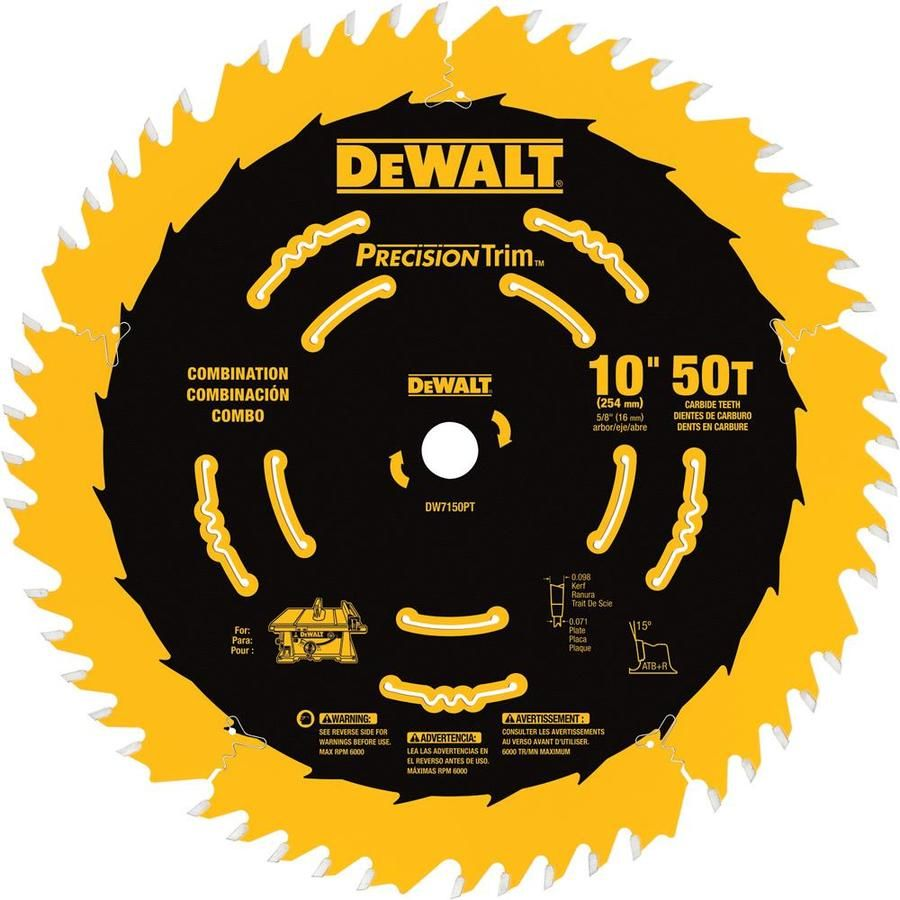Dewalt Precision Trim 10 In 50 Tooth Segmented Carbide Miter Table Saw Blade Dw7150pt In 2020 Table Saw Blades Circular Saw Blades Dewalt Circular Saw