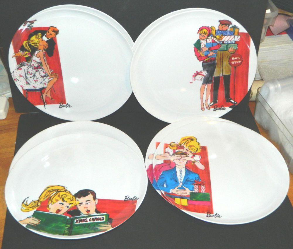 8 HTF Ponytail Barbie+Ken Illustrated 10  Holiday Christmas Melamine Plate Set & Details about 8 HTF Ponytail Barbie+Ken Illustrated 10