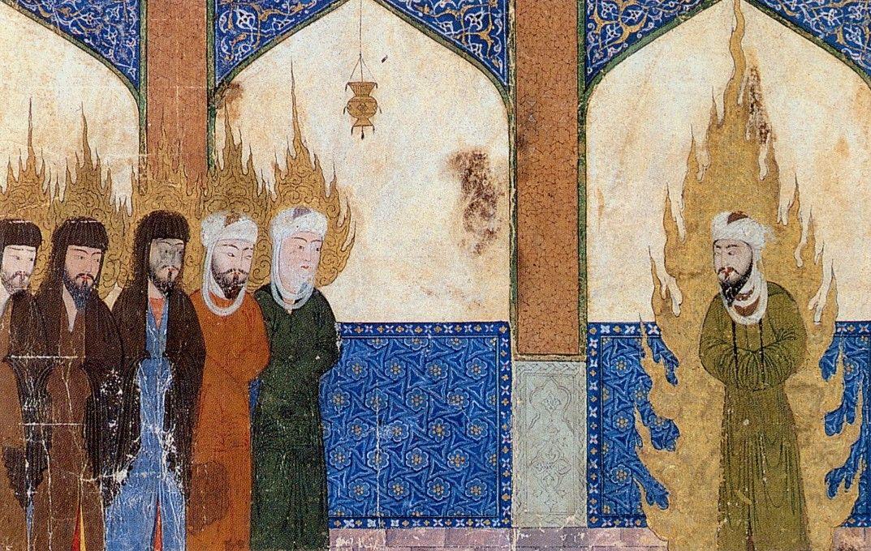 Muhammad saarnaa islamin profeetoille Abrahamille, Moosekselle ja Jeesukselle persialaisessa käsikirjoituksessa.