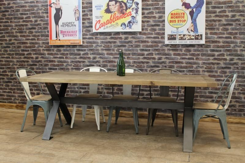 Details about LARGE 1.8M STEEL AND RECLAIMED OAK FARMERS DINING TABLE  RUSTIC INDUSTRIAL STYLE