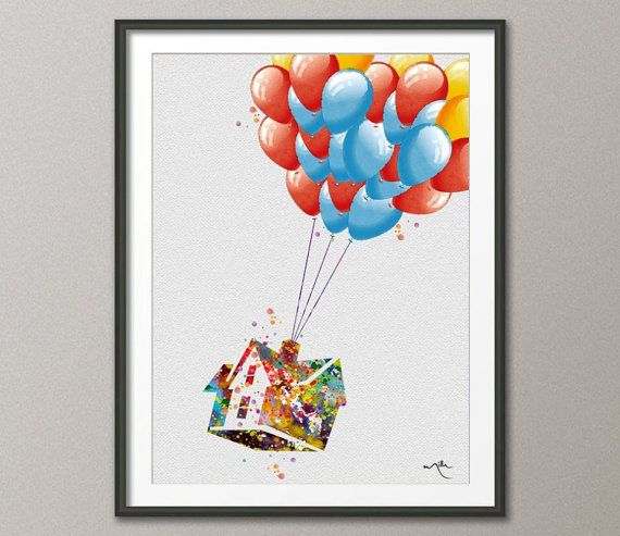 Up Movie Poster Inspired Watercolor Art Print Wall By Cocomilla 15 00 Poster Wall Art Watercolor Art Prints Wall Art Prints