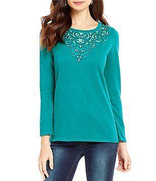 """Reba """"Holiday Gems"""" Jewel Embellished Long Sleeve Sweater"""