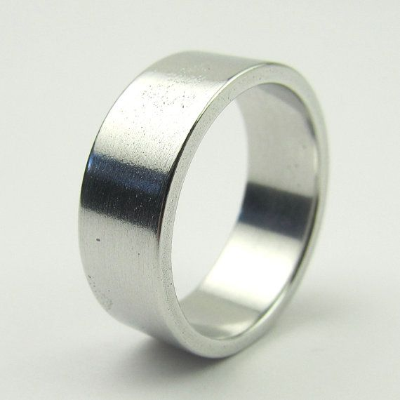 10th Anniversary Gift Mens Wide Square Band Wedding Ring Aluminum