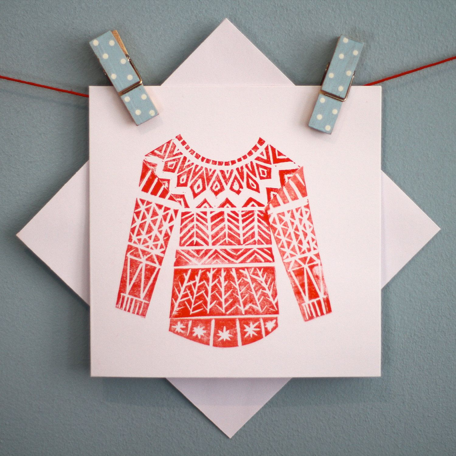 Winter Woolly Linocut Christmas Card - Red. £3.00, via Etsy. | Block ...