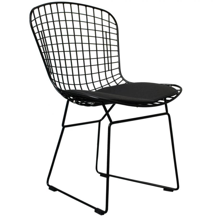 Great Harry Bertoia Wire Side Chair   All Black Powder Coat