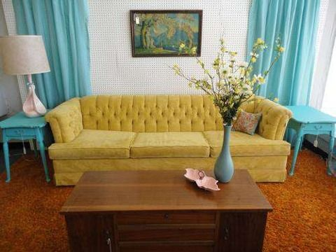 Vintage Velvet Sofa, Springfield Missouri Furniture