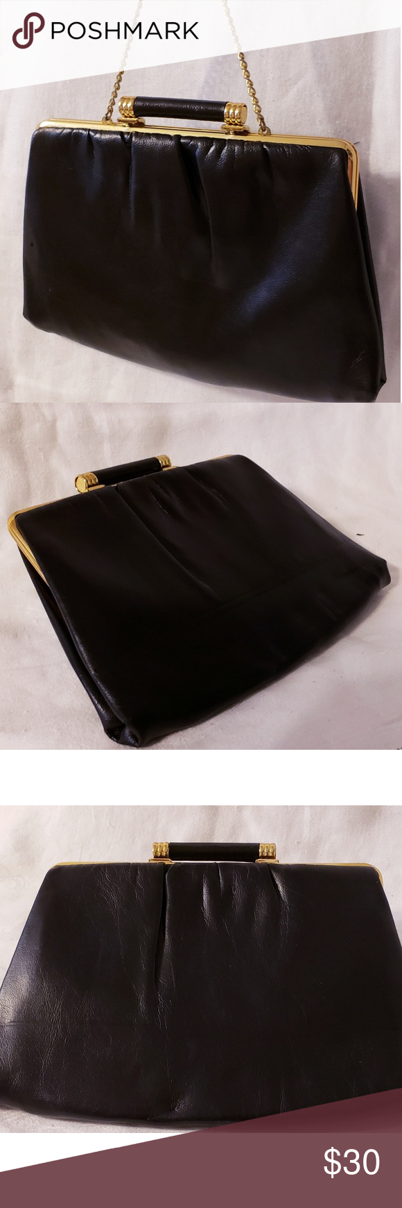 MCM Vintage Black Leather and Gold Chained Clutch True Vintage MCM Black  Leather and Gold Clasp and Chain Clutch. This is a Beautiful Bag and  Flawless ... db40b62b72