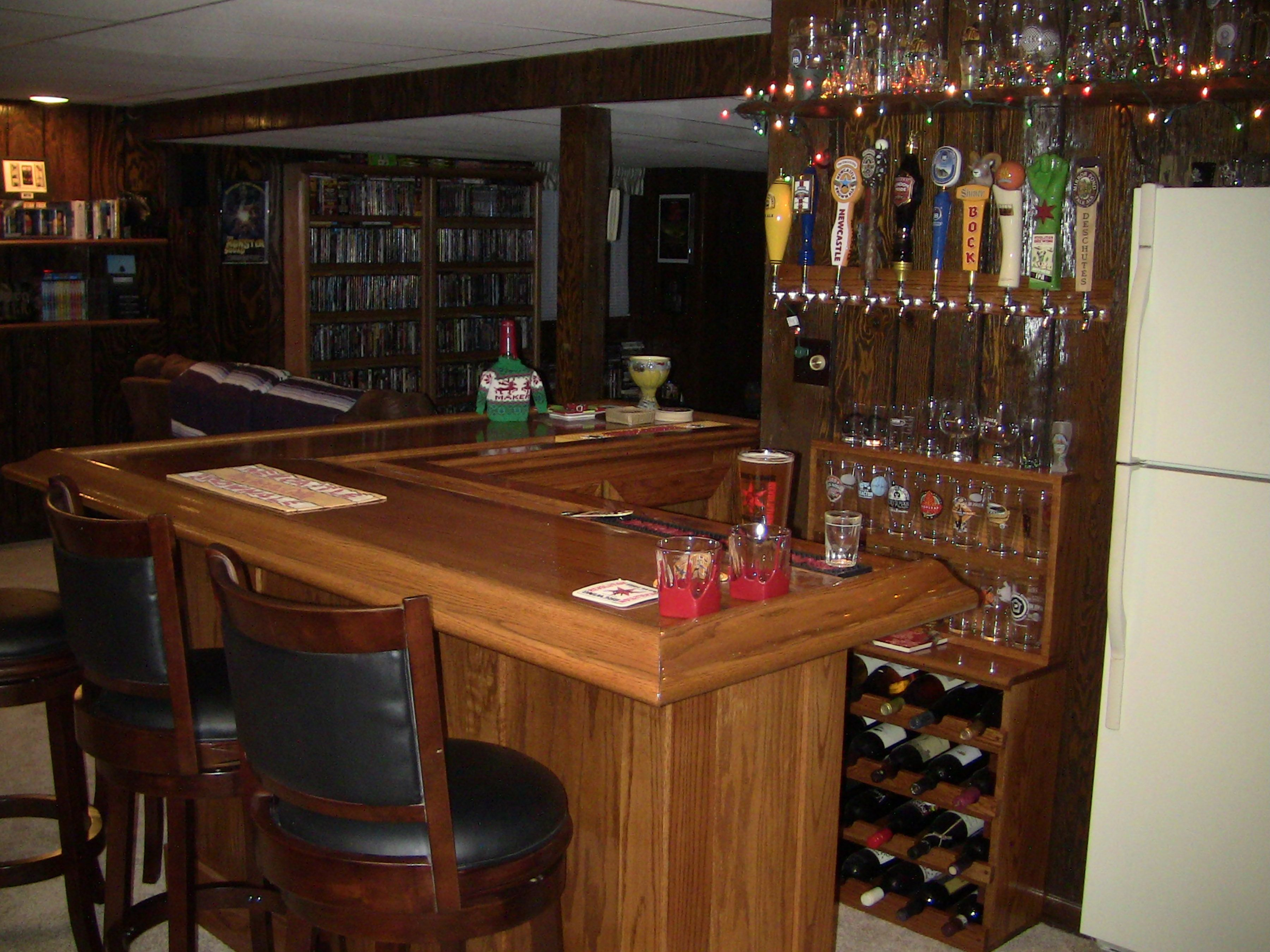 Final Oak Home Bar With Stools Back And Christmas Lights