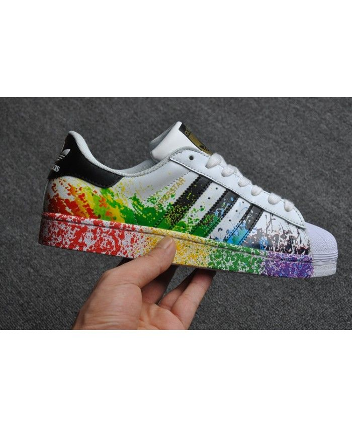 official photos 79add 2a3f8 Mens Adidas Superstar Pride Pack Splash Ink Rainbow Trainer