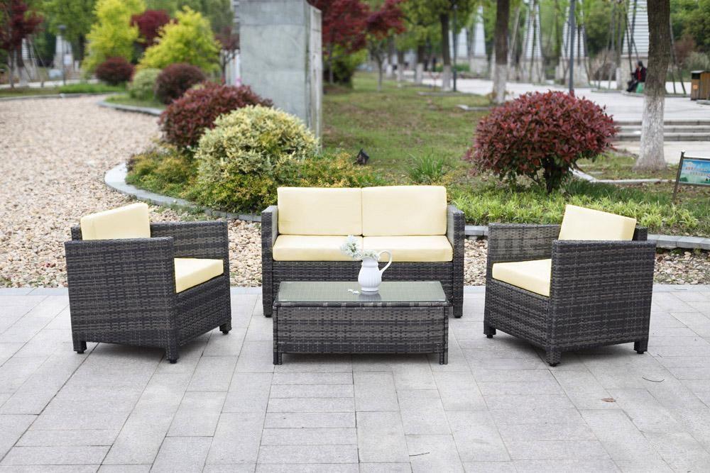 4PCS Patio Rattan Outdoor Garden Furniture Sofa Set Wicker Weave W