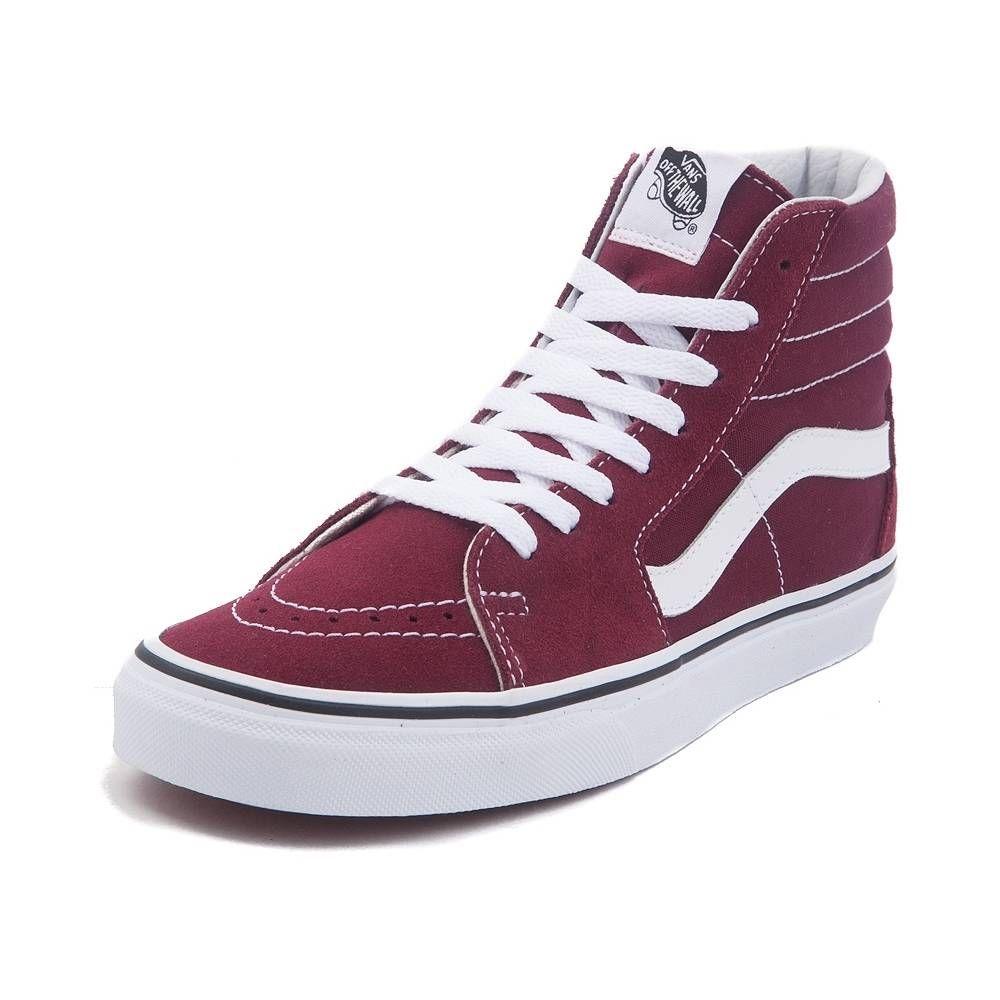 Vans Sk8 Hi Skate Shoe - Burgundy/White