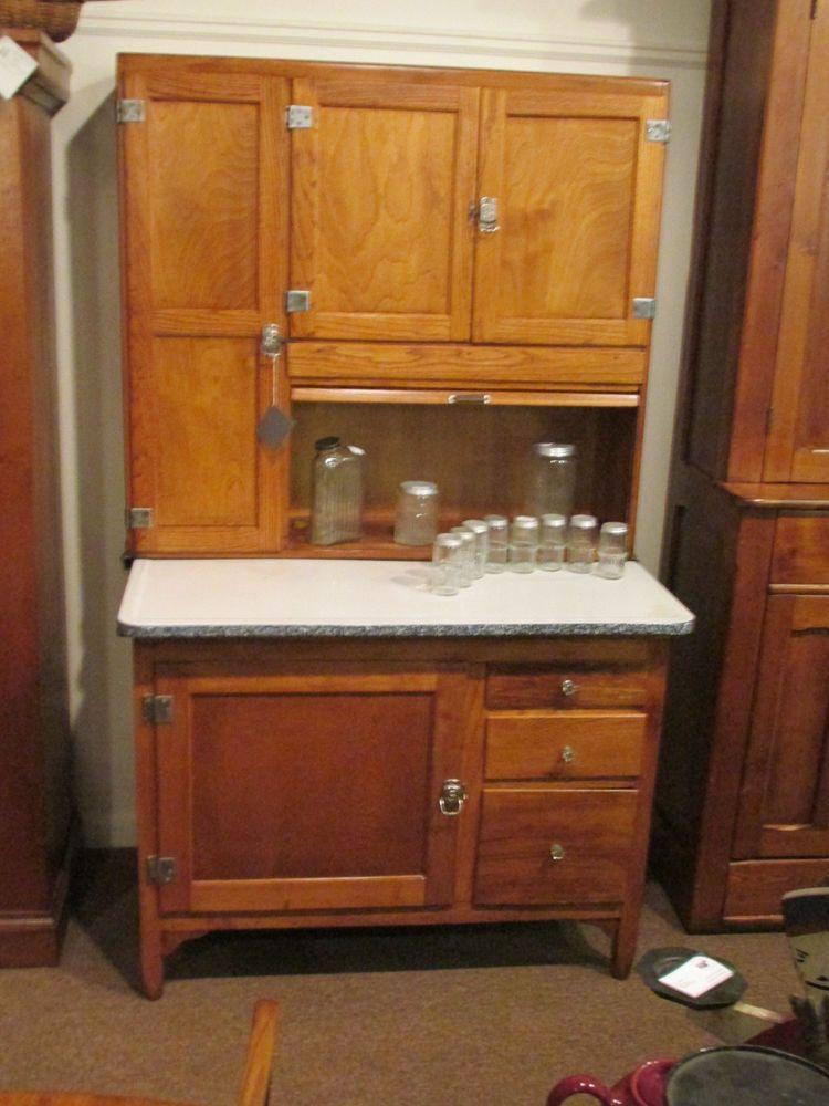 S25 antique oak sellers hoosier bakers kitchen cabinet for Antique kitchen cabinets with flour sifter
