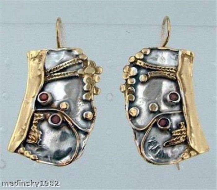 Hadar NEW Handmade Unique Silver Gold Large Garnet Earrings (b 72. 129.00 usd, via Etsy.