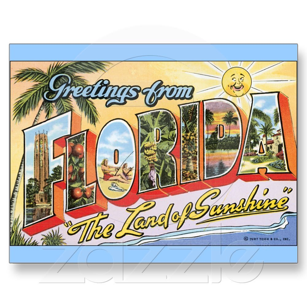 Welcome bags vintage style florida postcards welcome bags greetings from florida land of sunshine large letter postcard kristyandbryce Image collections