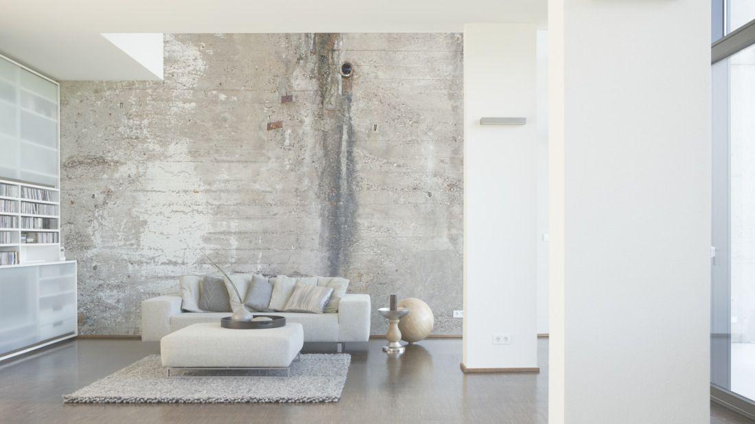 Tapeten im Wohnzimmer; Architects Paper Fototapete «Alte Betonwand - fototapete wohnzimmer braun