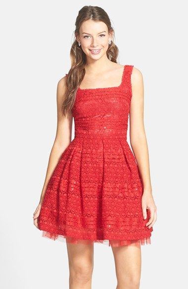 Soprano Sequin Lace Skater Dress Juniors Available At Nordstrom