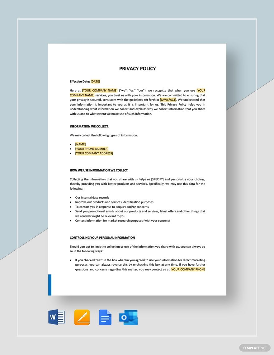 Privacy Policy Template In 2020 Letter Templates Memo Template Lettering
