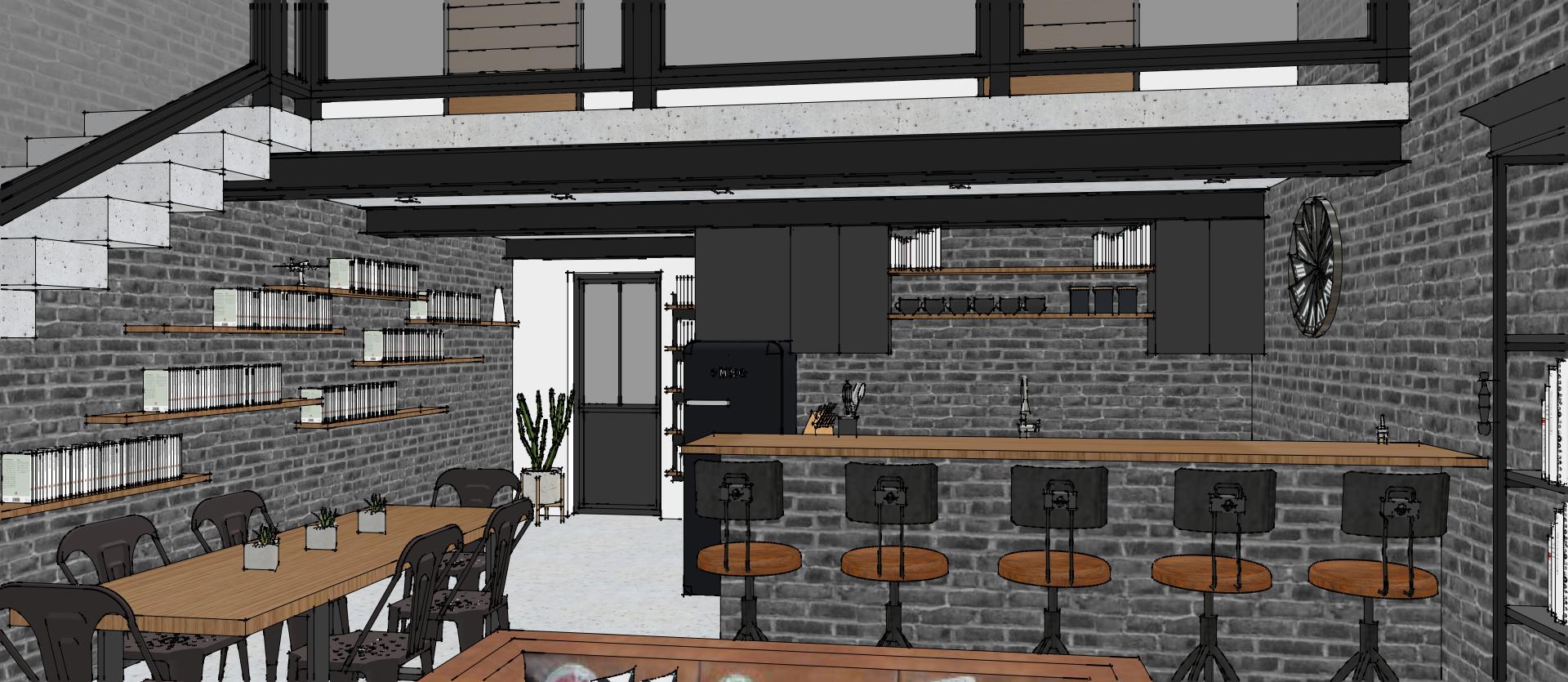 Conception 3D d\'un rez de chaussée esprit loft industriel. Une ...