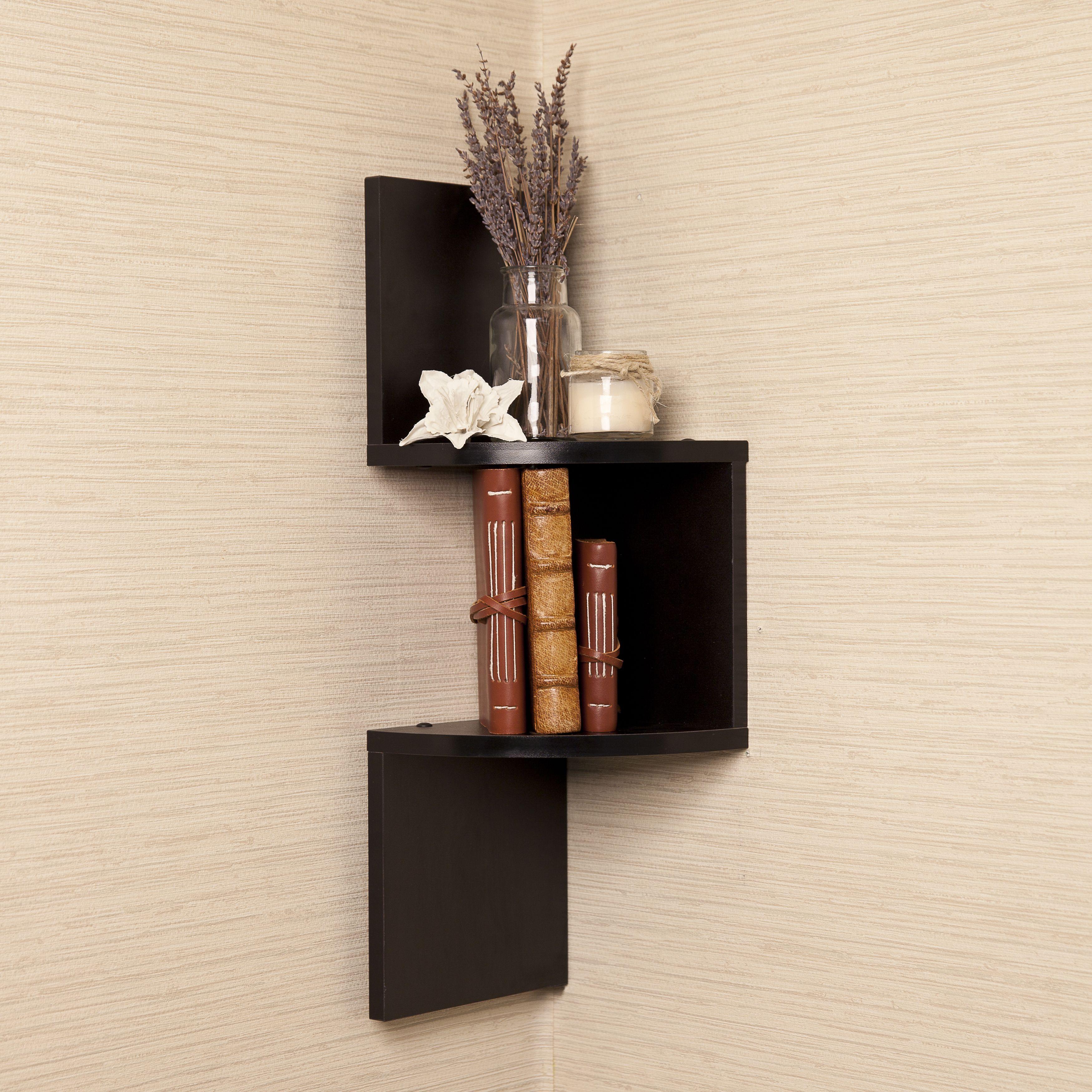 Zig Zag Design Laminated Wooden Corner Wall Shelf Black Corner Shelves Wall Mounted Shelves Corner Wall Shelves