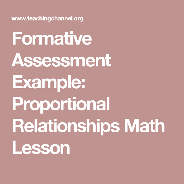 Formative Assessment Example Proportional Relationships Math