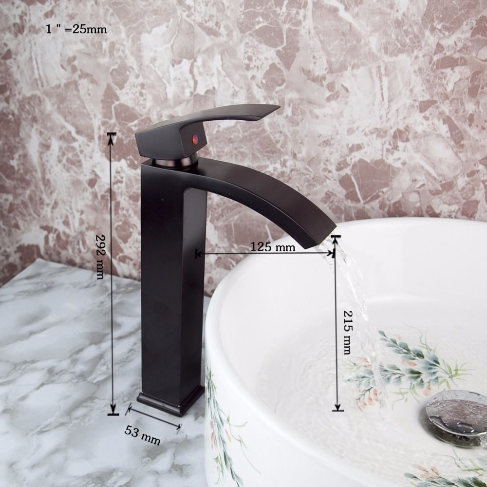 Waterfall Spout Deck Mount Contemporary Oil Rubbed Black Bronze Faucet Kitchen Sink Bathroom Basin Ta With Images Bronze Kitchen Faucet Bathroom Basin Taps Bronze Faucet