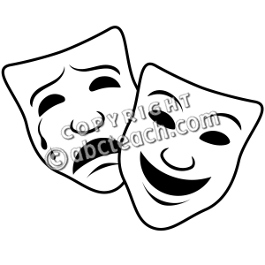 clip art comedy and tragedy masks 1 coloring page preview 1 rh pinterest ca