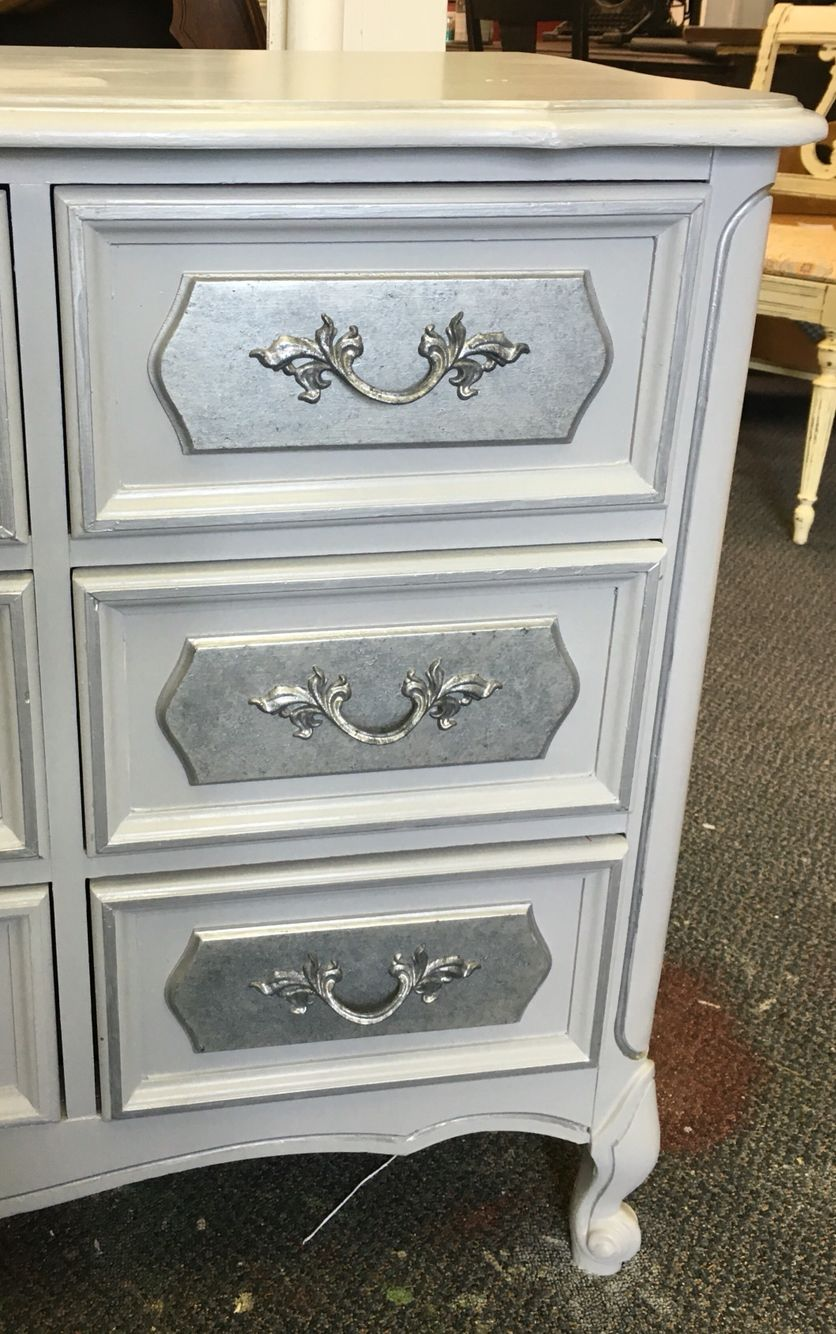 Vintage Dresser Painted With Grey Chalk Paint And Silver