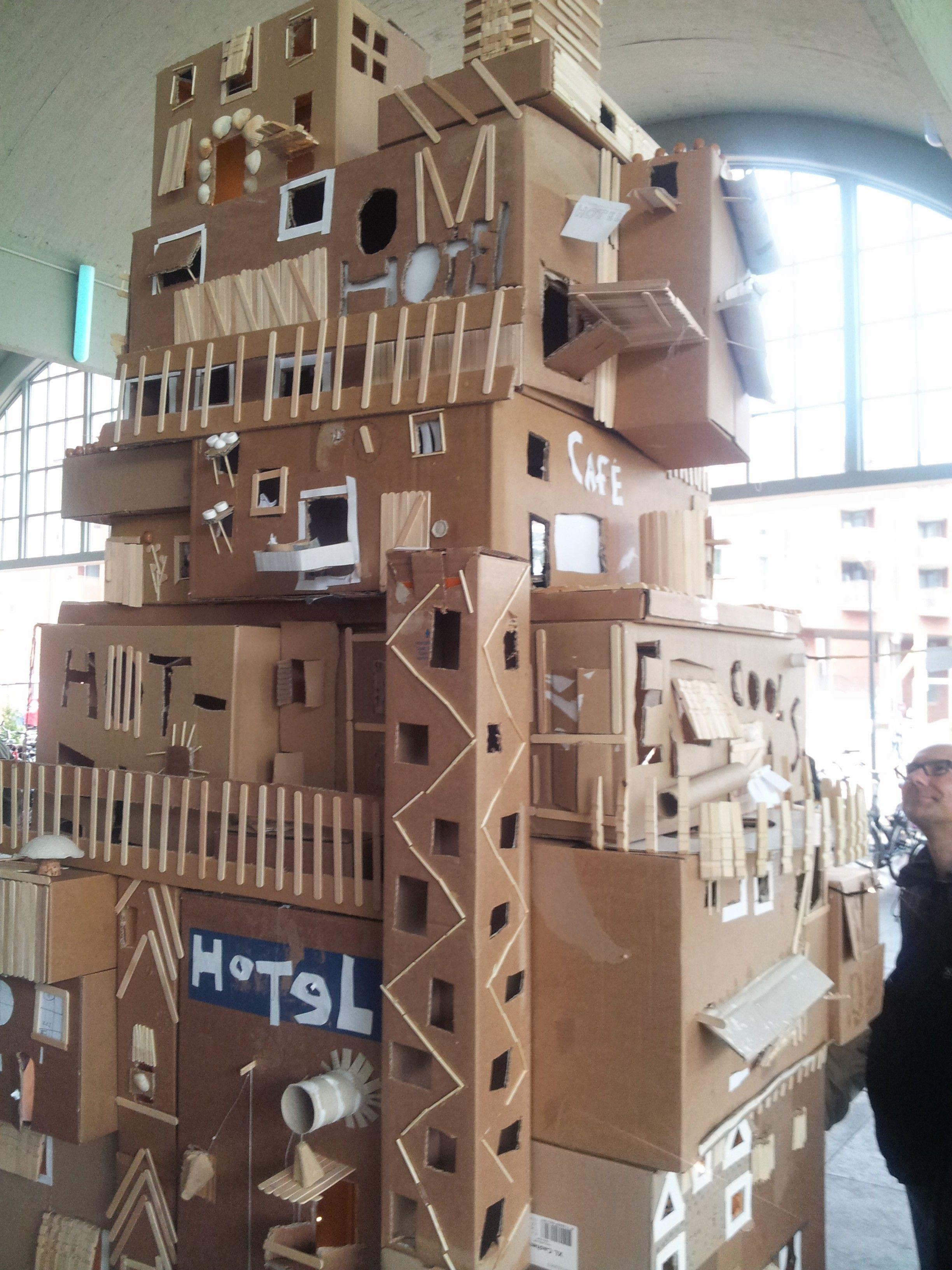School Art Project Cardboard Box Houses Building Blocks