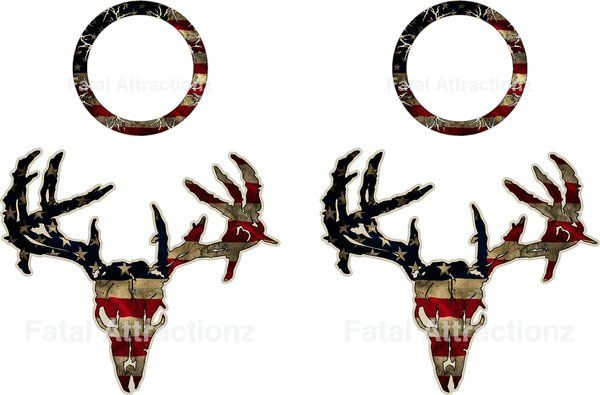 Oak camouflage deer skull hunting ripped vinyl graphic decal