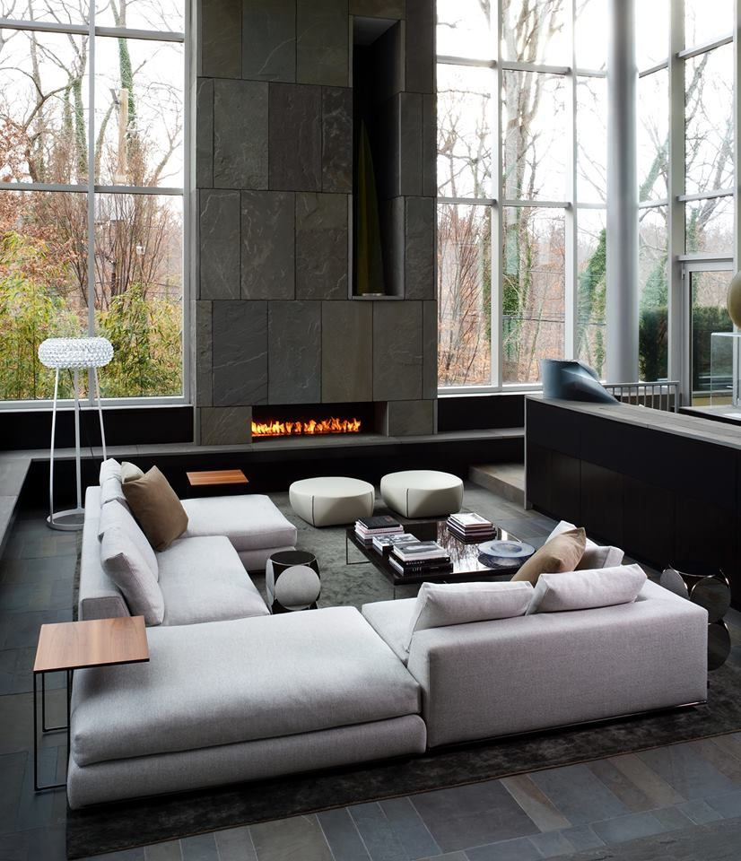 contemporary living room. Sofa's and gas fire place.