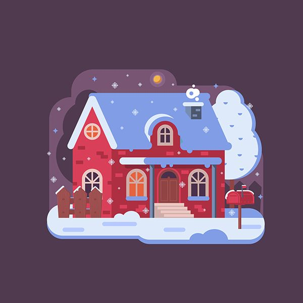 Affinity At Winter Park Home: Cozy Winter Homes Illustrations On Behance