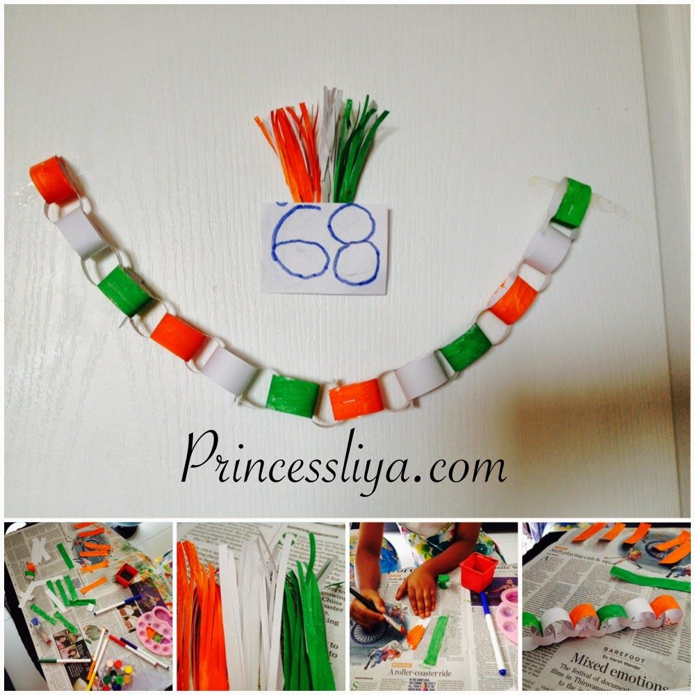 Independence Day crafts for kids playing with tricolor