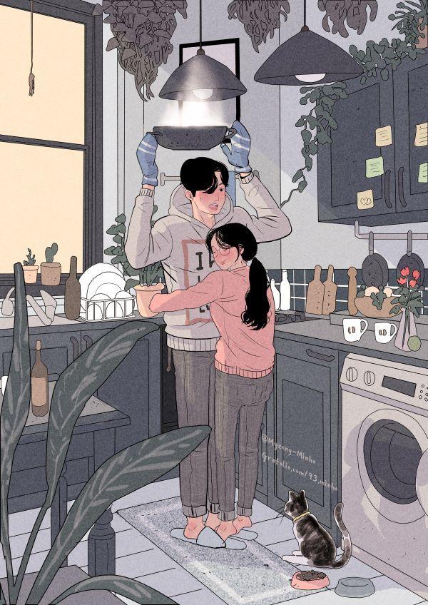 명민호 그리기 아이디어, 사랑 예술 및 일본 애니메이션