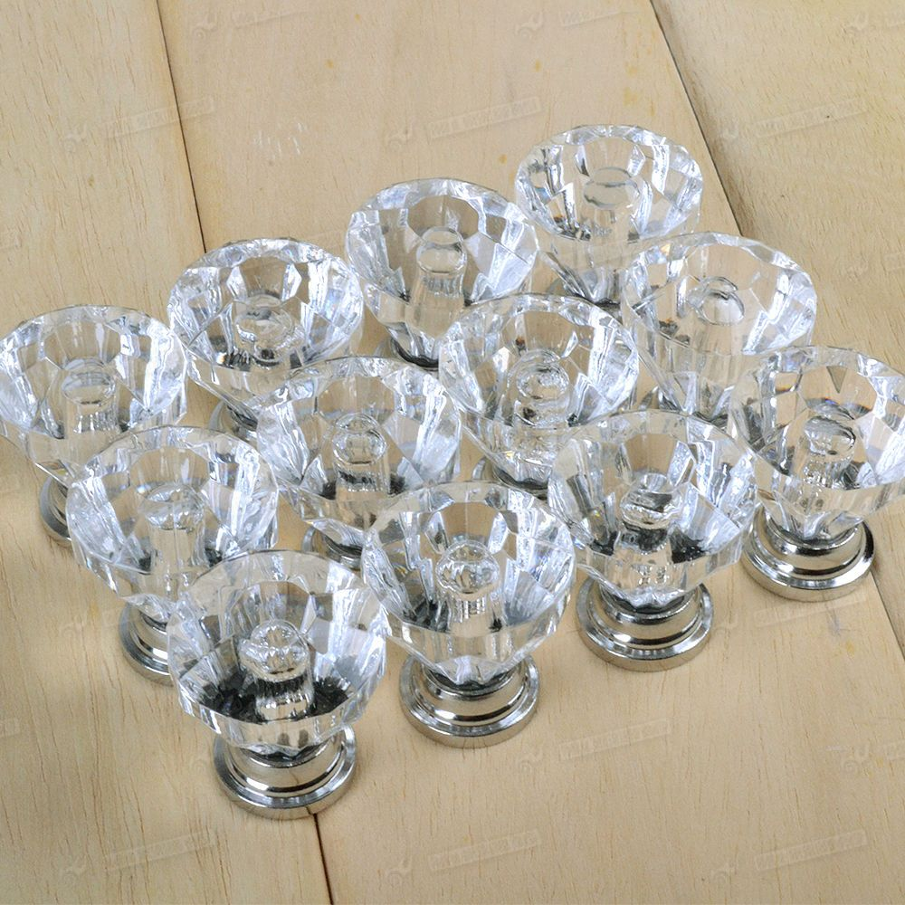 12x Crystal Glass Door Knobs Drawer Cabinet Furniture Handle Knob Top UK  Fast