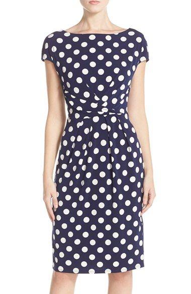 Eliza J Polka Dot Jersey Sheath Dress