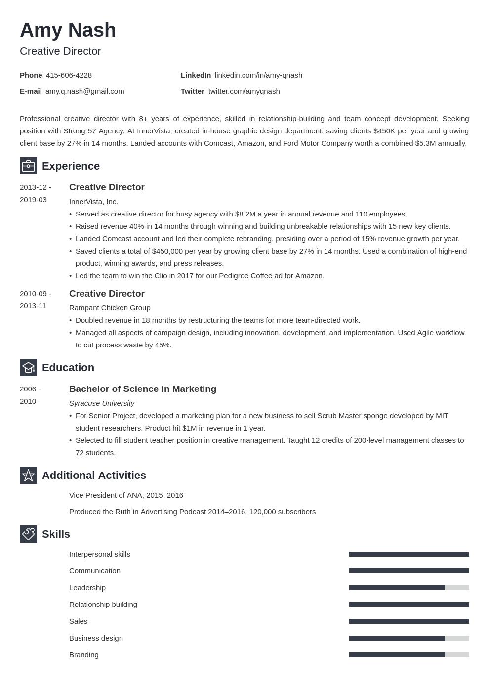 Creative Director Resume Example Template Newcast Job Resume Examples Resume Examples Creative Director