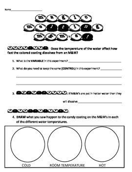 Scientific Method Inquiry Activity M&M's Experiment Matter states ...