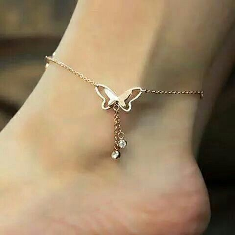 Butterfly Charms /& Rhinestones chain ANKLET Silver or Rose Gold beach barefoot