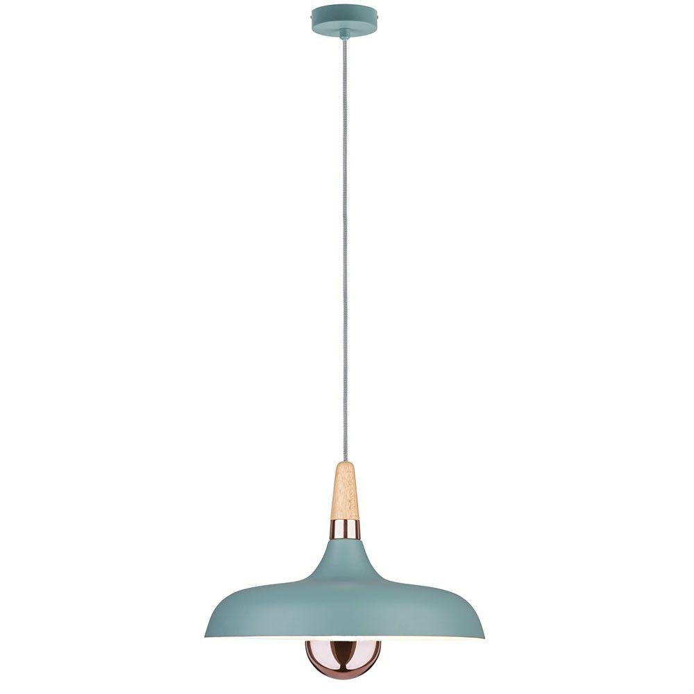 Neordic Juna Holz Pendelleuchte / Softgrün, Kupfer 51157