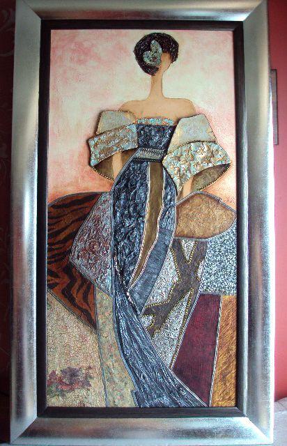 Menina moderna con cuadro plateado valorada en 325 for Cuadros meninas modernas
