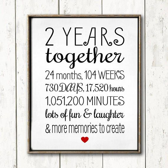 2 Year Anniversary Sign DIY Printable Gift Anniversary Cute Gift for