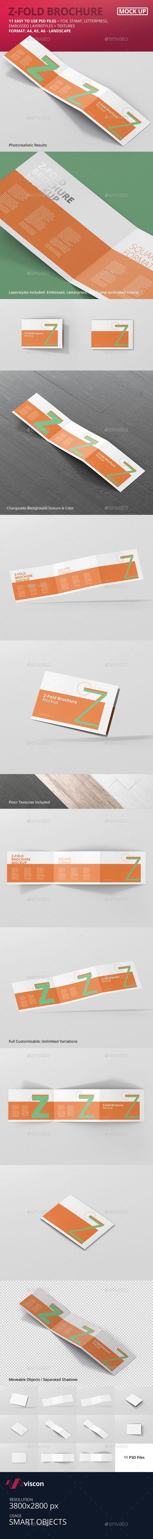 Z-Fold Brochure Mockup - Landscape Din A4 A5 A6 | Mockups