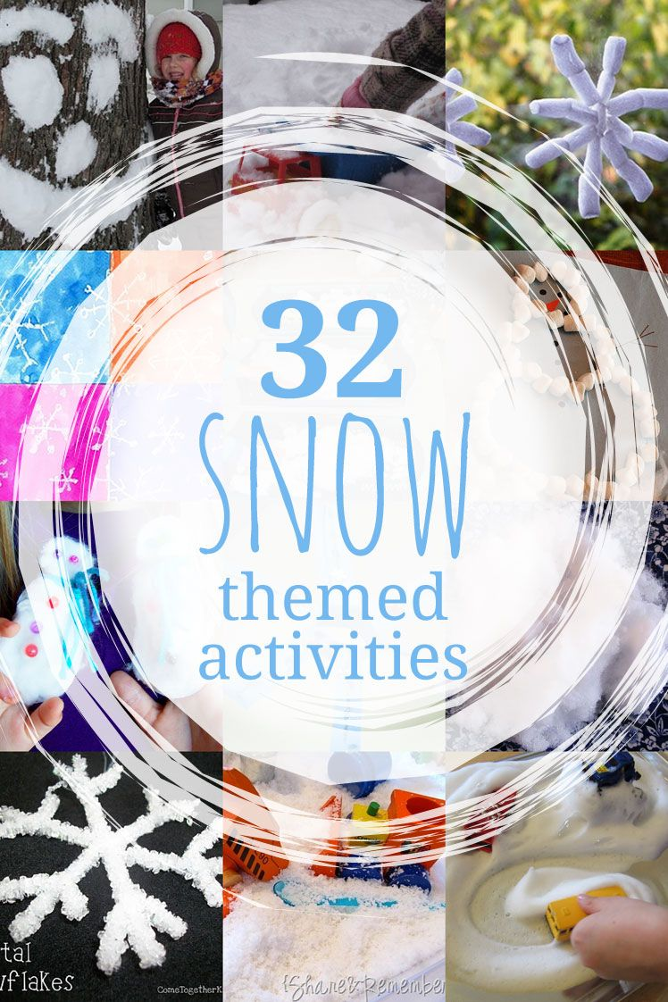 32 snow ideas for a snow theme or unit. Making snow, snowflakes, and snowmen are great winter activities for the kids to do that fit in the snow theme.