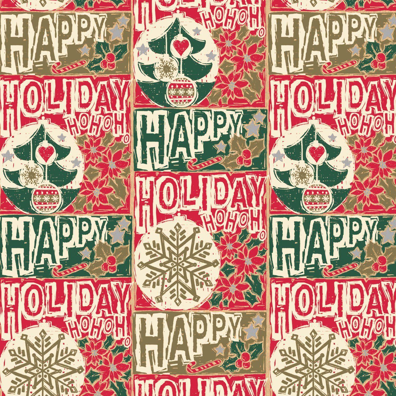 Jillson Roberts Recycled Christmas Gift Wrap, Holiday Woodblock, 6  Roll Count **