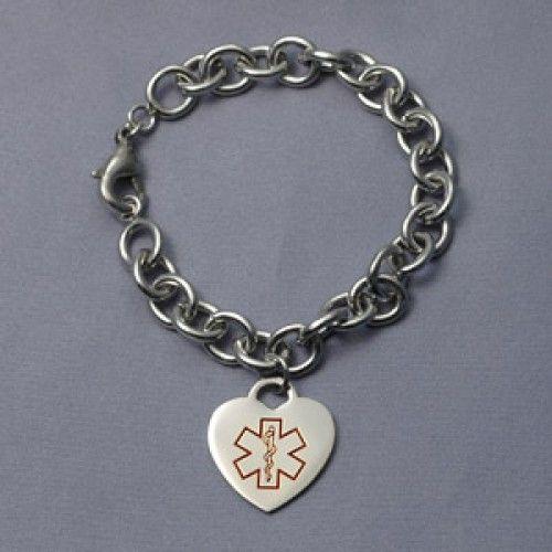 Tiffany Style 316l Stainless Diabetes Medical Alert Heart Charm Bracelet 6 1 2 7