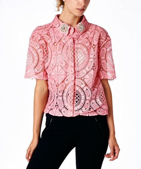 COMMEUSA Pink Lace Button-Up Top | zulily