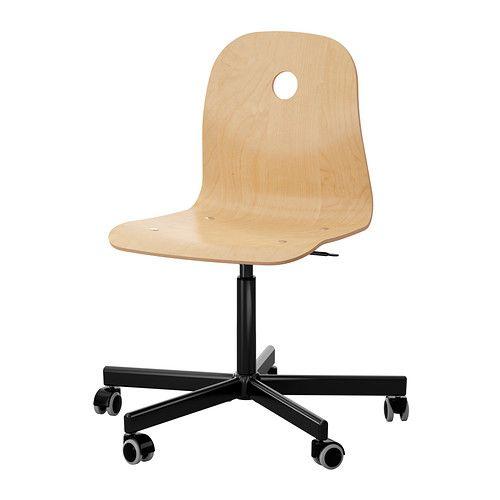 IKEA - VÅGSBERG/SPORREN, Työtuoli, koivuviilu/musta, , Säädettävän istumakorkeuden ansiosta tuolissa on helppo löytää hyvä asento. 49 EUR