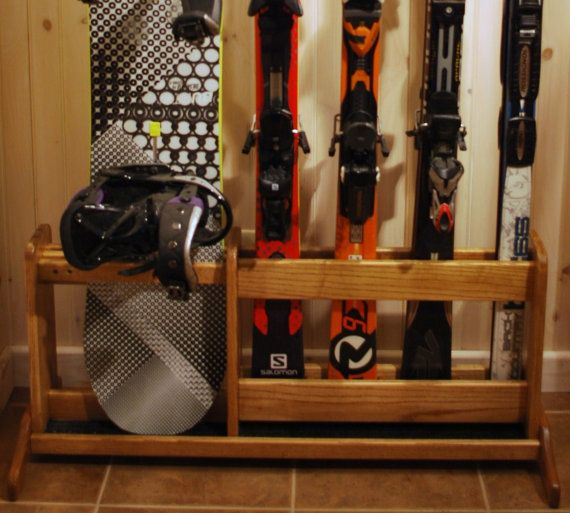 Freestanding Wooden Ski Rack For Skis And By