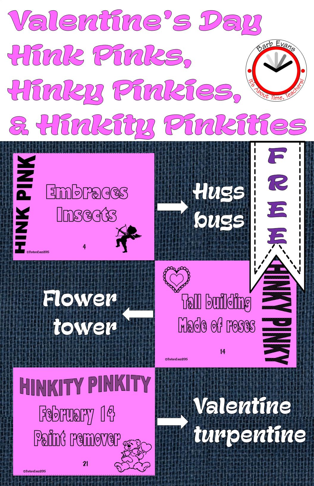 Valentine S Day Hink Pinks Hinky Pinkies Hinkity Pinkities